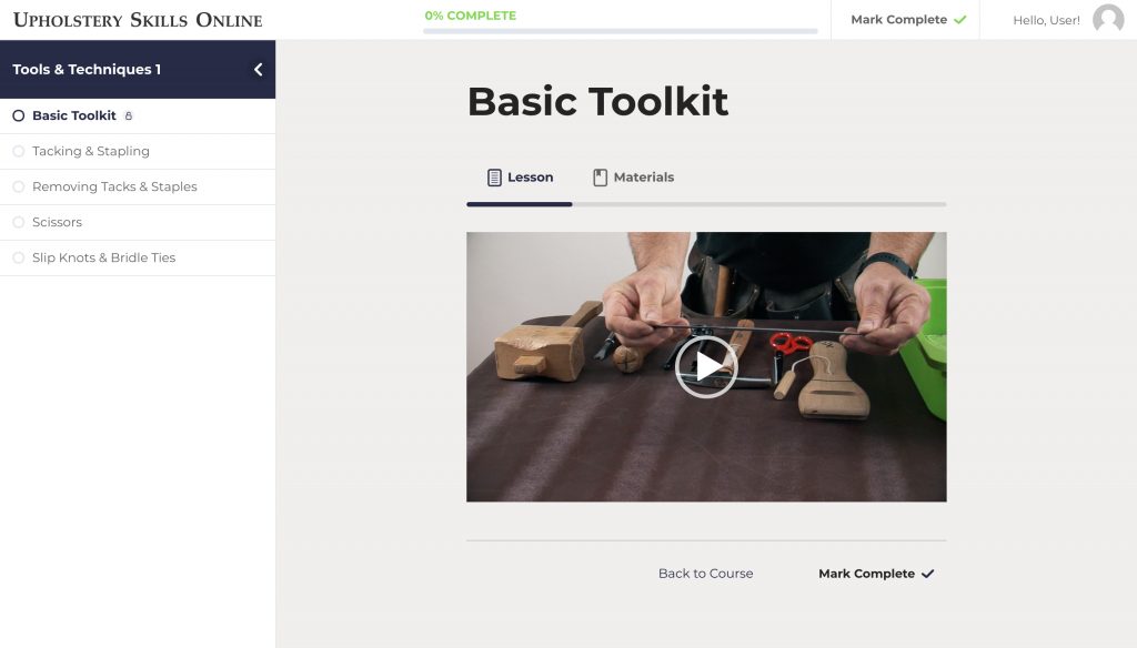 Basic Toolkit Interface